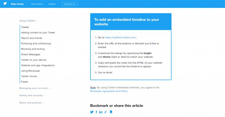 Twitter embed capabilities