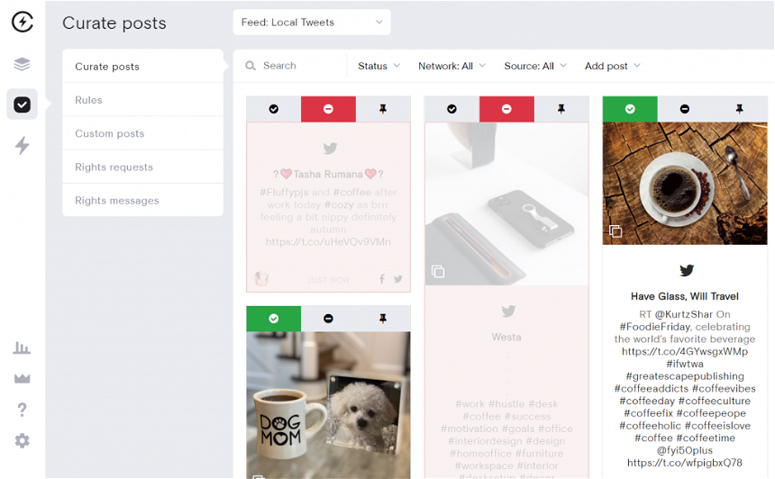 Rejecting and approving social media posts to add to Webflow website