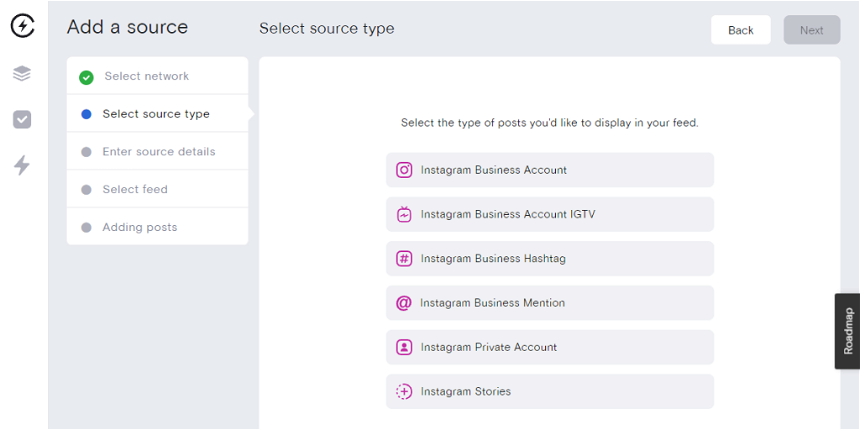 Different source types for Instagram content